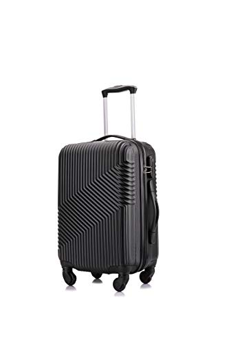 Flymax Cabin Luggage 4 Wheel Suitcase Lightweight Carry on 55x35x20 Approved for Flybe Ryanair Easyjet British Airways Black