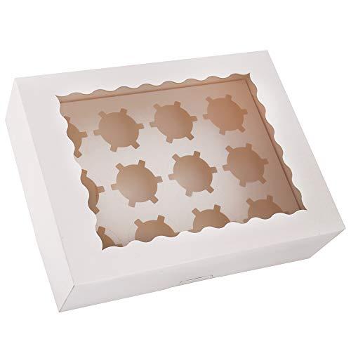 Tcoivs カップケーキボックス 20個セット 標準カップケーキ12個 ホワイトカップケーキコンテナ 自動ポップアップペーパーボード カップケーキとマフィン用