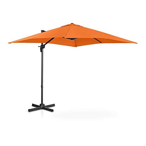 Uniprodo Hanging Parasol Cantilever Umbrella Tiltable Square Garden Umbrella 250cm Orange UNI_UMBRELLA_2SQ250OR (UPF50+, Polyester, Fabric Density 180g/m²)