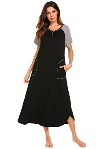 Ekouaer Damen Nachthemd V-Ausschnitt Loungewear Langarm Nachtwäsche volle Länge Nachthemd für Frauen S-XXL, schwarz, Klein