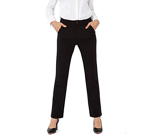 Bamans Pantaloni Eleganti da Donna Casual Pantaloni Svasato Lungo da Abito Elasticizzati Gambe Dritte Larghi Pants Tuta Casual, Vita Media da Ufficio (Nero, Medium)