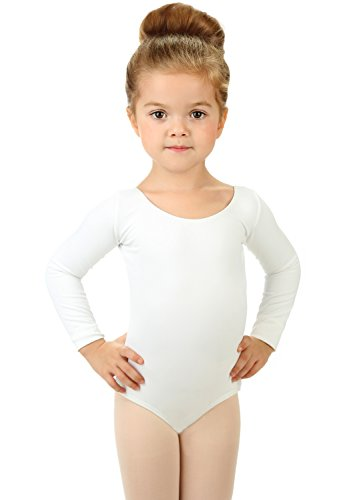 Elowel Girls' Team Basics Long Sleeve Leotard White (Size 4-6)