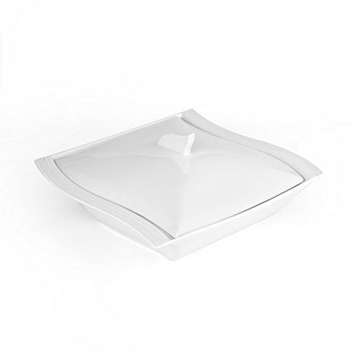 MALACASA, Series Flora, 1 Piece 10' Ivory White Porcelain Soup Pot Soup Bowl with Lid (25.5 * 26 * 13.5)