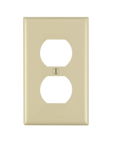 Leviton 80703-I 1-Gang Duplex Device Receptacle Wallplate, Standard Size, Thermoplastic Nylon, Device Mount, 1 Pack, Ivory