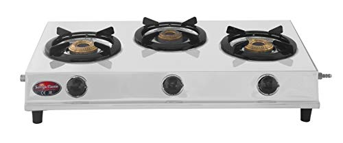 Surya Flame Stainless Steel 3 Burners Opera Manual Ignition Gas...