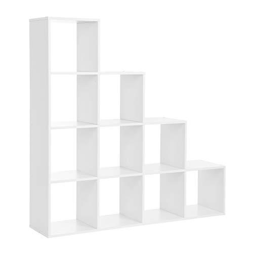 VASAGLE Bücherregal, Treppen, 10 Würfel-Fächer, Ausstellungsregal aus Holz, freistehendes Regal, Raumteiler, Weiß LBC10WTV1