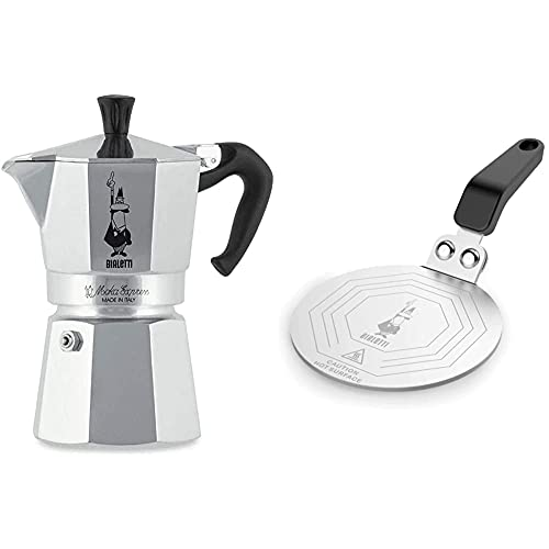 Bialetti Moka Express Cafetera Italiana Espresso, 4 Tazas, Aluminio + DCDESIGN08 Difusores de calor, adaptador para el utilizo de cafeteras y baterías de cocina sobre placas de inducción