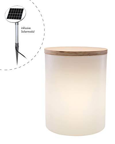 8 seasons design   Solar LED Zylinder Ablagetisch Gartenhocker Blumentopf Shining Drum (45cm, Ø 37 cm, Solarpanel, warmweiss, Lichtsensor, 10l, bepflanzbare Gartendeko) weiß