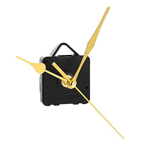 DOITOOL Silence Quartz Clock Movement Silent Clock Mechanism Long Shaft Replacement Clock Kits Wall Clock Movements Mechanism Parts with 3 Hands No Battery (Gold)