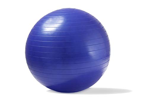 ADEPTNA Anti Burst Gym Ball 55cm Exercise Yoga Swiss Core Fitness core strength training stretching toning resistance With Hand pump included BLUE