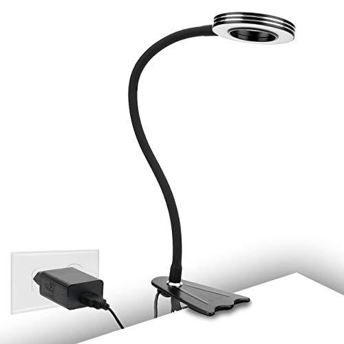 Klemmleuchte, 8W Klemmleuchte Schreibtisch, LED-Leselampe als Nachtischlampe, CeSunlight Buch Klemme, Warmlicht, Tageslicht und Weißlicht 3 Farben, USB-Klemmlampe,10 dimmbare Beleuchtungsmodi(schwarz)