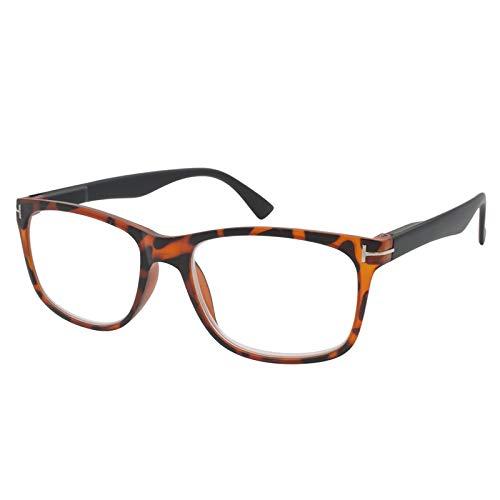 TBOC Gafas de Lectura Presbicia Vista Cansada – Graduadas +2.00 Dioptrías Montura Carey Patillas Negras de Diseño Moda para Hombre Mujer Unisex Lentes de Aumento para Leer Ver Cerca Bisagras Resorte