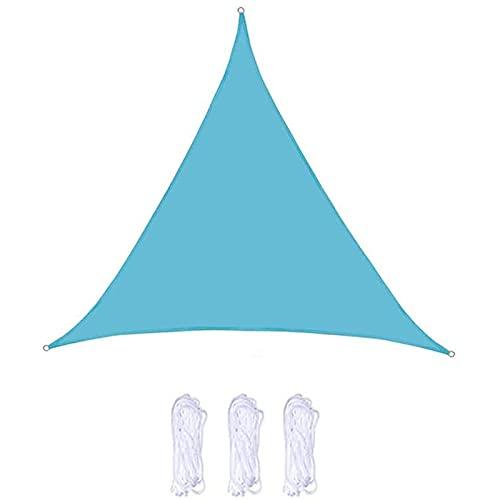 NXSP Vela De Sombra Triangular, Impermeable De Verano Al Aire Libre, Protector Solar Y Protección UV, Utilizada En Patio Jardín Balcón Terraza Camping Carport Piscina (4 * 4 * 4m,Light Blue)