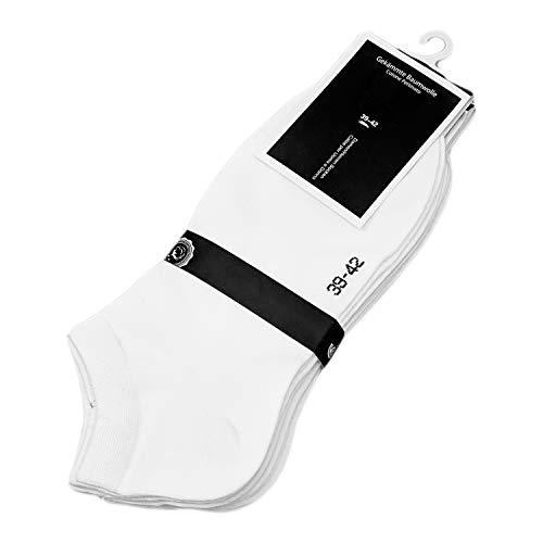 Sneaker Socken für Damen 6Paar - Kurzsocken - Sport-/Freizsocken uni - 90% Baumwolle - schwarz oder weiß 35-38 39-42 (35-38, Weiß)