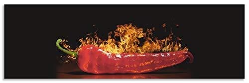 Artland Spritzschutz Küche aus Alu für Herd Spüle 180x55 cm Küchenrückwand mit Motiv Essen Lebensmittel Gewürze Chili Flammen Modern Dunkel Rot S7PR