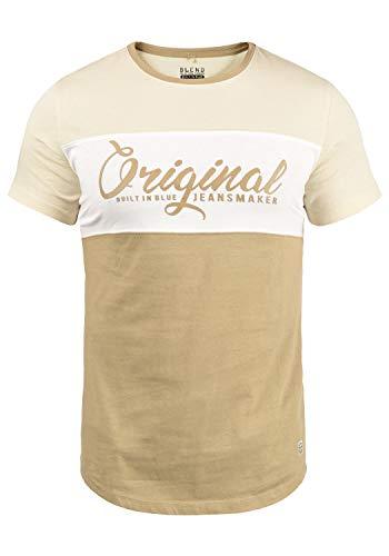 Blend Nero Herren T-Shirt Kurzarm Shirt Print Mit Streifen Und Rundhalsausschnitt, Größe:L, Farbe:Cornstalk (161315)