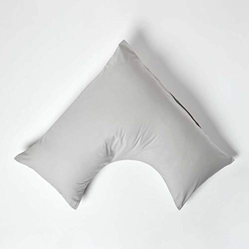 HOMESCAPES Funda de Almohada Forma V 100% algodón Egipcio 200 Hilos 110 x 80 x 80 cm Color Gris