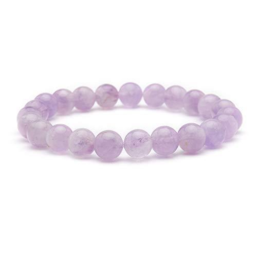 Bivei Natural Gem Semi Precious Reiki Healing Crystals Handmade 8mm Round Beads Stretch Bracelet