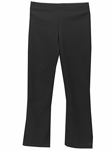 Girls School Trousers, Plain Elasticated Waist Pull Up Stretch Rib Fabric Bootleg Style Comfortable Fit Black 7-8 Years