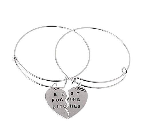 Paar van 2 armbanden - incisie - dames - hart in tweeën gebroken - vriendschap - sieraden best friends best fucking bitches bangle