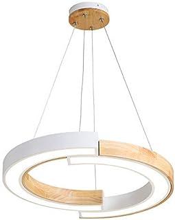 Lámpara Colgante Led Regulable Redonda Lámpara de Araña Simple Estilo Nórdico Lámpara Techo Moderna Salón Dormitorio Comedor Oficina Pantalla de Acrílico Madera Hierro (Blanco,58CM)