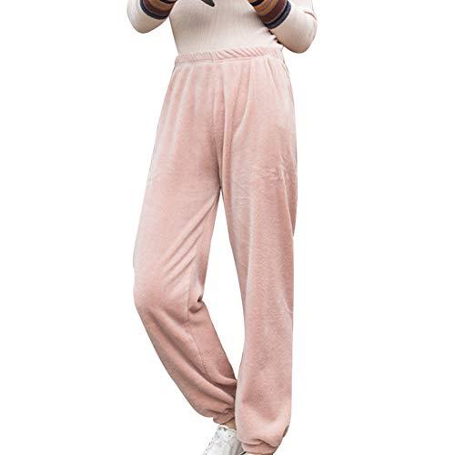 Huaheng Ultra Warm Fleece Winter Pajama Pant Zachte Dikke Thuis Casual Losse Broek roze