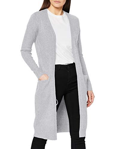 Vila Clothes Damen VIRIL L/S Long Knit Cardigan-NOOS Strickjacke, Grau (Light Grey Melange), 38 (Herstellergröße: M)