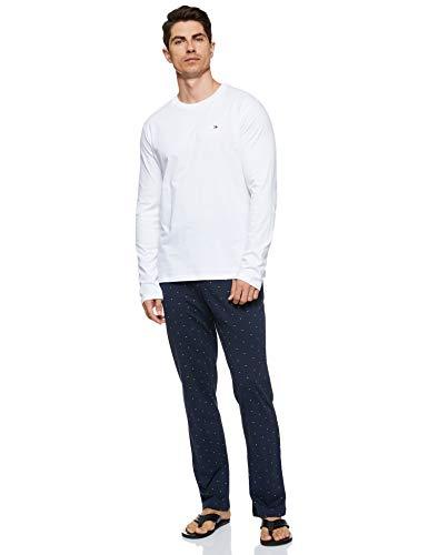 Tommy Hilfiger Herren Cn Ls Pants Jersey Set Print Zweiteiliger Schlafanzug, Weiß, Small (Herstellergröße:)