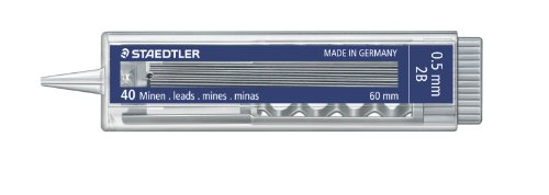 Staedtler 376431 - Estuche con 40 minas, 0.5 mm, 2B