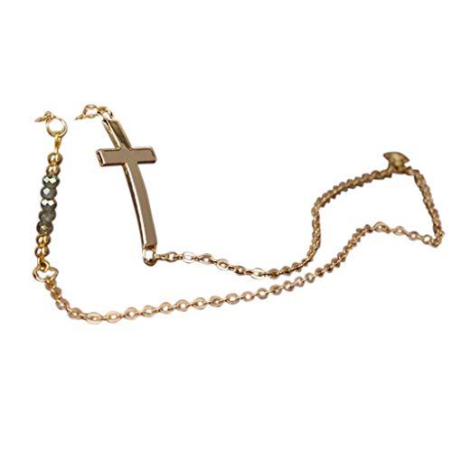 Yowablo Einfache Neue Kreuz Hand Perlen Kristall Doppelschicht Kurze Halskette (Gold)