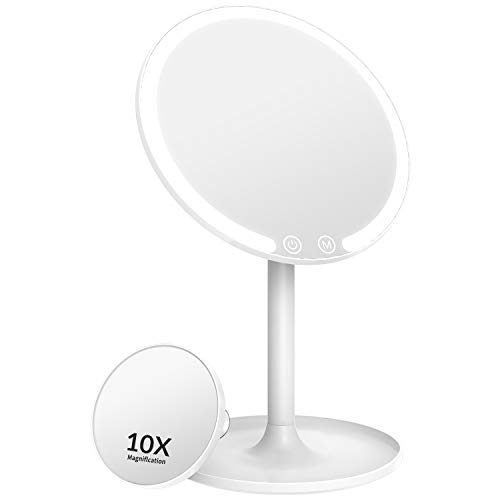 Easehold Lighted Makeup Mirror, Rechargeable 1X/10X Magnifying Vanity Mirror with 42 LED Lights,...