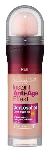 Maybelline New York Instant Anti-Age Effekt Der Löscher Make-Up Sun Beige 48 / Schminke in natürlichem Braun, Make Up gegen Hautunebenheiten & Falten, inkl. Mikro-Lösch-Applikator, 3 x 20 ml