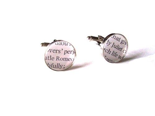 Romeo et Juliette Shakespeare Boutons de manchette avec un livre Extraits sous verre cabochons en velours Boîte à boutons de manchette