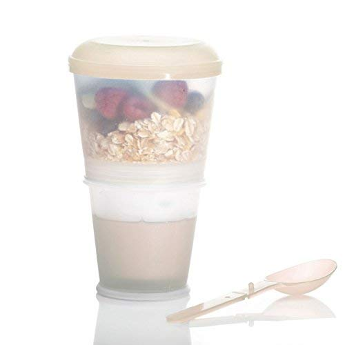 Muesli to-Go Muesli Cup for on the go 2-Go Muesli Travel Cup con compartimento aislado de leche y cuchara plegable con tapa apretada para trabajo, universidad, viajes, picnic y más (Beige): Amazon.es:
