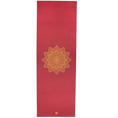 Bodhi Yogamatte RISHIKESH Premium 60 mit goldenem Mandala, Bordeaux