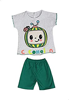 Jockey Printed Short Sleeves Round Neck T-shirt with Plain Shorts for Girls - Light Heather Grey and Green, 6-9 Months