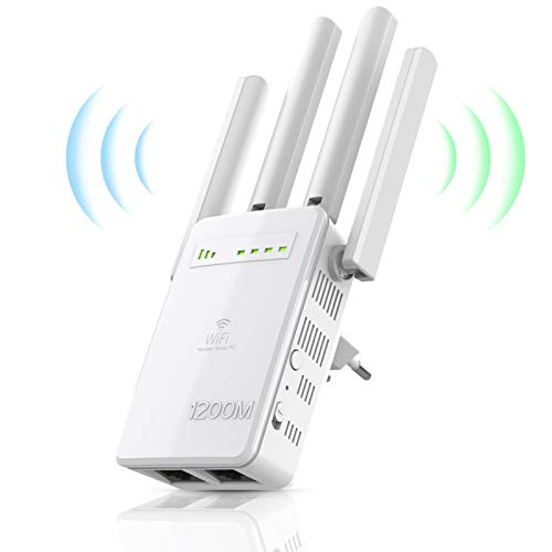 DIGITNOW! Ripetitore WiFi Wireless,velocità Dual Band 1200Mbps,WiFi Extender e Access Point, 2 Gigabit LAN Porta,Compatibile con Tutti i Modem Router WiFi, 2.4ghz 5ghz
