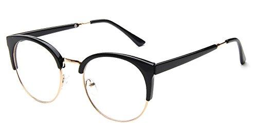 KINDOYO Unisex Cateye klare Linse Brille Katzenauge Metal-Bügel Klassische Retro Brillen Fashion Glasses Frauen & Männer, Gold / Schwarz