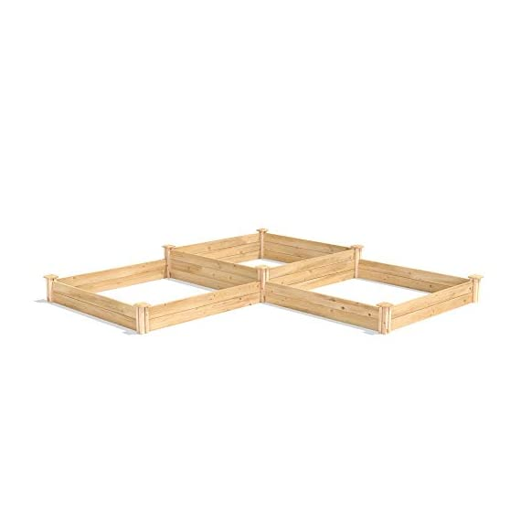 """Greenes Fence RC4T4S24B Two Tiers Dovetail Raised Garden Bed 2 Made in the USA from naturally rot- and insect-resistant cedar. The wood is 100% chemical free. Middle tier offers 10. 5"""" depth and lower tiers are 7"""" deep Package contains 4 Tall Posts, 4 Short Posts, 24 Boards, 8 Caps, and 8 Screws"""