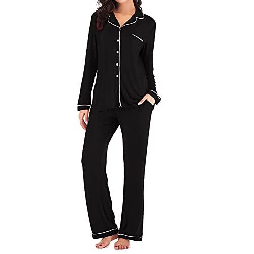 Tongzone Women's Satin Pajama Pants & top Set 2 Piece PJ Matching Top and Long Pants Black