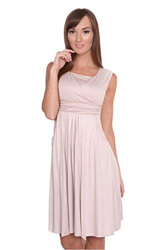 Mija - 2 in1 Umstandskleid & Kleid/Elegantes Schwangerschaftskleid Oxd2 (XXXL / EU46, Beige)