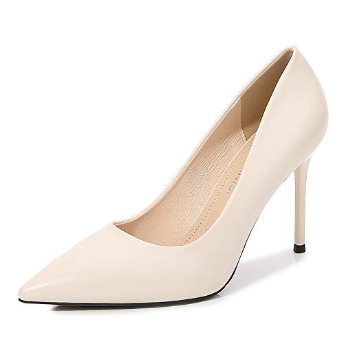CYwinterB Tacones Altos Elegante Oficina Meseta Bomba Sexy Puntiagudo Estilete Talla Grande Zapatos de Mujer para Banquete Ocasiones Formales Vestidos Color sólido High Heels Apricot  44