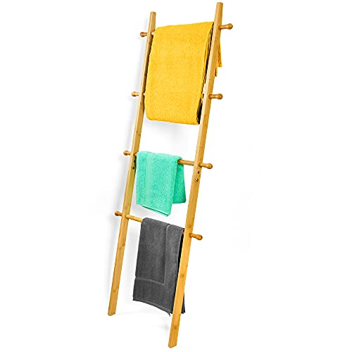 bambuswald Escalera para Toallas XL Aprox. 150 cm Hecha de 100% bambú | Toallero, Perchero, Escalera para Ropa, toallero, Accesorio de baño