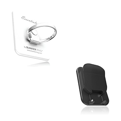 BUNKER RING Multi Holder Pack【車載ホルダー付】バンカーリング iPhone/Galaxy/Xperia/スマートフォン・タブレットPCを指1本で保持<落下防止+スタンド+車載ホルダー機能>(ホワイト) BUMUWI