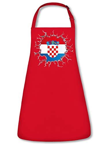 Golebros Kroatien Croatia Hrvatska Fan Artikel 5687 Fuss Ball Trikot Look Flagge Fahne EM 2020 WM 2022 Unisex Koch Latz Küchen Grill Schürze Rot