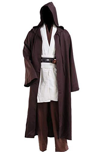 Generic Disfraz completo de tnica con capucha para Halloween, jedi, guerrero, cosplay, disfraz para hombre