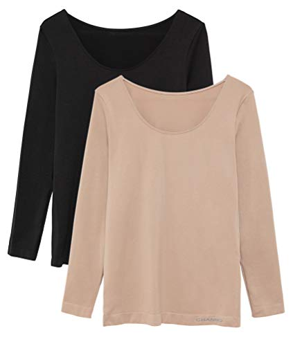 Pack de 2 Camisetas Interiores Mujer Manga Larga Licra Sin Costuras Seamless Colores Lisos (Negro-Visón, M-L)