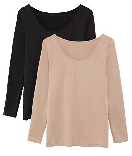 Pack de 2 Camisetas Interiores Mujer Manga Larga Licra Sin Costuras Seamless Colores Lisos (Negro-Visón, L-XL)
