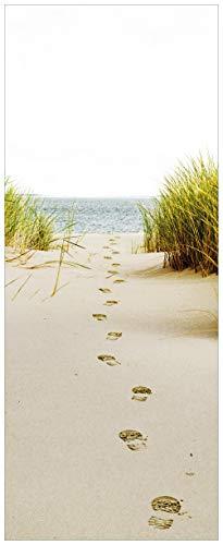 Wallario Glasbild Spuren im Sand- Fußspuren durch die Düne zum Meer - 50 x 125 cm in Premium-Qualität: Brillante Farben, freischwebende Optik