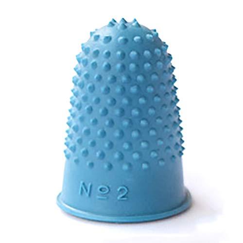 Dedal 5 piezas de punta de dedo cono de costura de goma para manualidades de trabajo (azul)